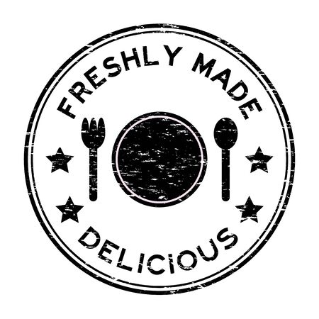 freshly: Grunge black freshly made delicious with plate, spoon, fork icon round rubber stamp