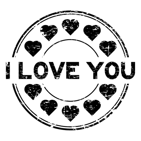 Grunge black I love you with heart icon round rubber stamp