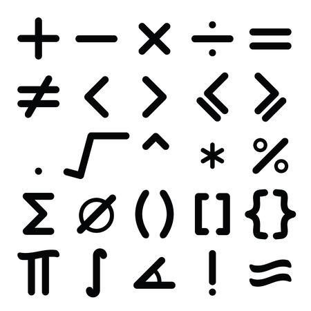 Black mathematical symbol icon set on white background