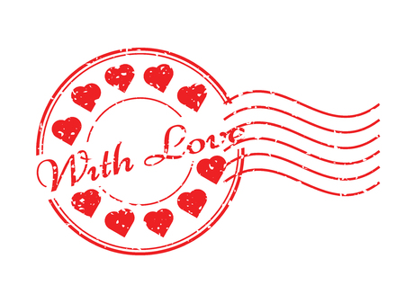 postmark: Grunge red with love with heart icon round and postmark rubber stamp Illustration