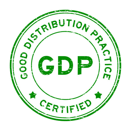 Grunge green GDP (Good distribution practice) certified round rubber stamp