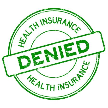 Grunge green health insurance denied round rubber stamp on white background