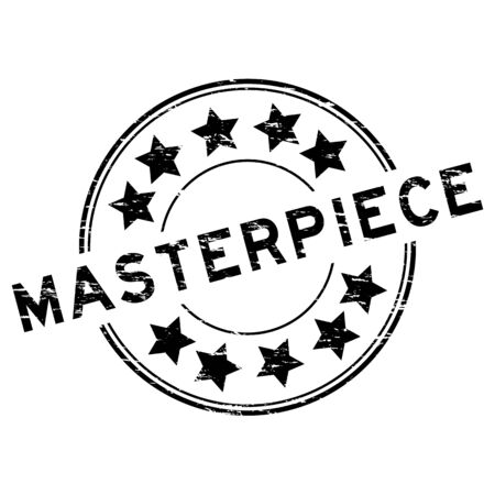 masterpiece: Grunge black masterpiece round rubber stamp on white background