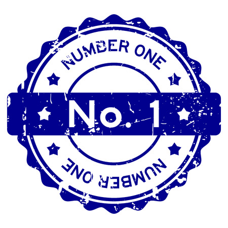 Grunge blue No. 1 (number one) round rubber seal stamp on white background