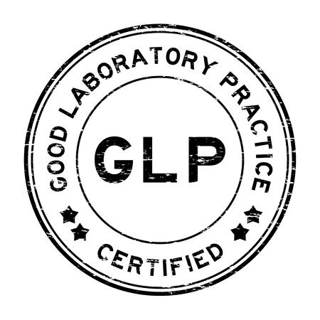 Grunge schwarz GLP (Good Laboratory Practice) zertifiziert runden Stempel
