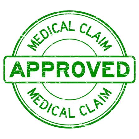 Grunge grün medizinische Anspruch genehmigen runden Stempel auf weißem Hintergrund