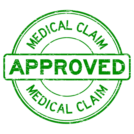 Grunge green medical claim approve round rubber stamp on white background Illustration