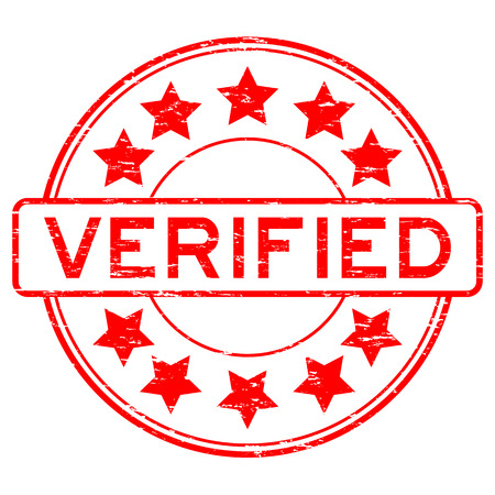 allowed to pass: Grunge red verified with star icon round rubber stamp