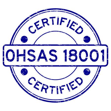 Grunge blue OHSAS 18001 certified round rubber stamp