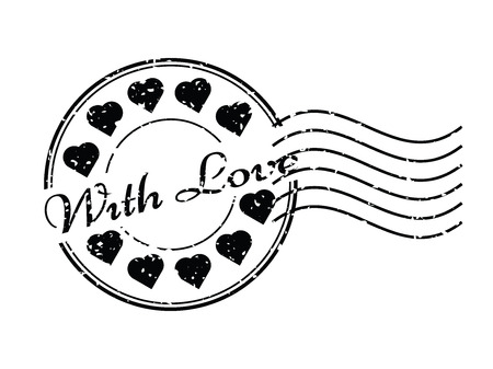 postmark: Grunge black with love with heart icon round and postmark rubber stamp
