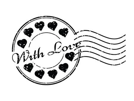 poststempel: Grunge schwarz mit Liebe mit Herz-Symbol Runde und Stempel Stempel Illustration
