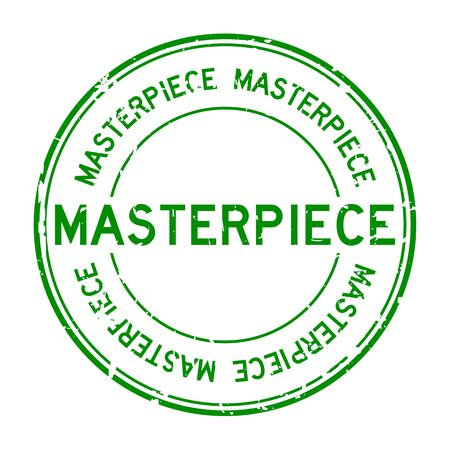 masterpiece: Grunge green masterpiece round rubber stamp on white background