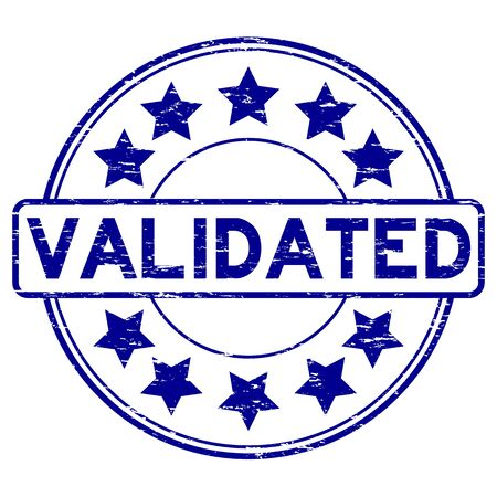 validate: Grunge blue validate with star icon round rubber stamp