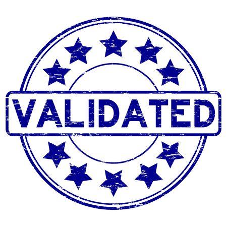 Grunge blue validate with star icon round rubber stamp