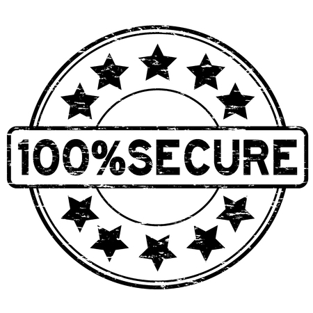 reliable: Grunge black 100 percent secure with star icon round rubber stamp