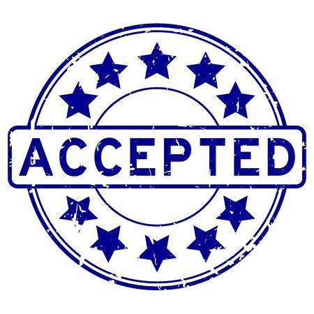 Grunge blau mit Stern Symbol runden Stempel