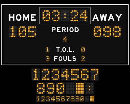 scoreboard timer: Basketball score board with orange square led on black background