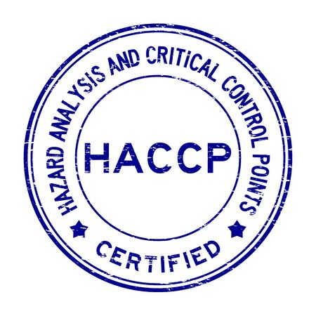Grunge blue HACCP (Hazard Analysis and Critical Control Points) certified round rubber stamp Vettoriali