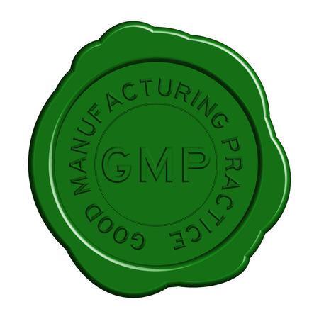 白い背景の上のワックス シール ラウンド グリーン GMP (よい製造業練習)