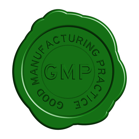 Groene GMP (Good manufacturing practice) ronde lakzegel op witte achtergrond
