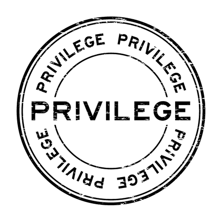 privilege: Grunge black privilege round rubber stamp on white background
