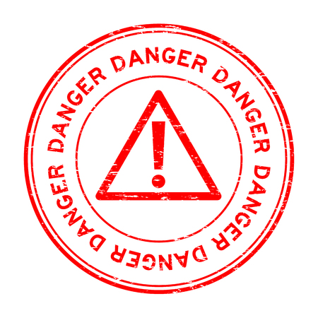Grunge red danger round rubber seal stamp on white background
