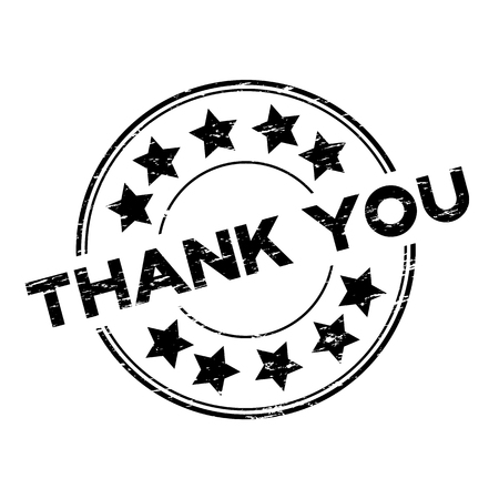 Grunge black thank you with star icon round rubber stamp on white background