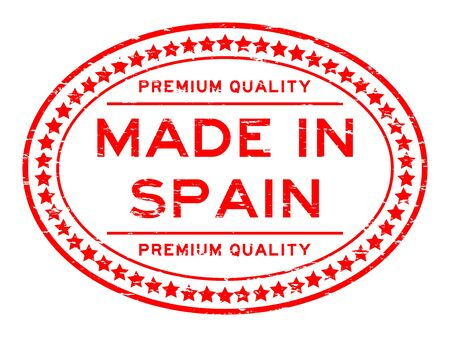 made in spain: Grunge red premium quality made in spain with star icon oval rubber stamp