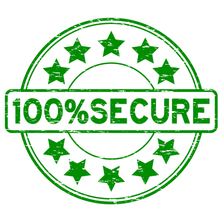 Grunge green 100 percent secure with star icon round rubber stamp