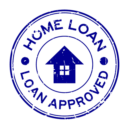 lending: Grunge blue home loan approved with house icon round rubber stamp