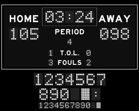 scoreboard timer: Basketball score board with white square led on black background