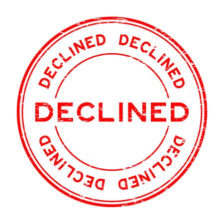 Grunge red decline round rubber seal stamp on white background