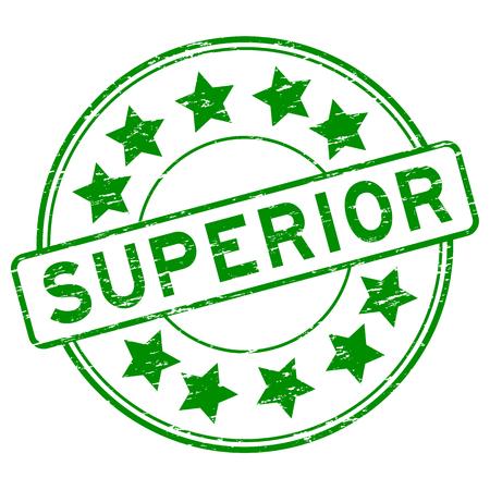 Grunge green superior with star icon round rubber stamp Illustration