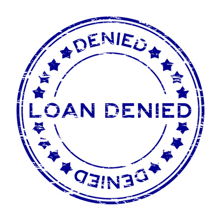 Grunge blue loan denied with star icon round rubber stamp Illustration