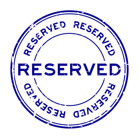 private party: Grunge blue reserve round rubber stamp on white background Illustration