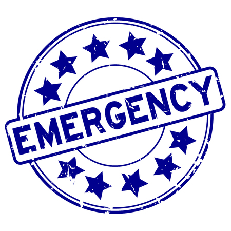 Grunge blue emergency with star icon round rubber stamp