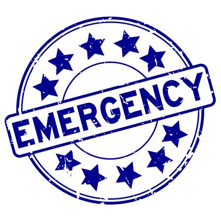 Grunge blue emergency with star icon round rubber stamp