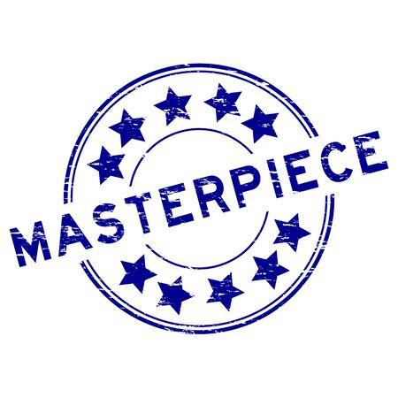 Grunge blue masterpiece round rubber stamp on white background