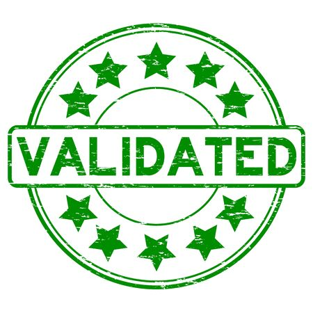 validez: Grunge green validate with star icon round rubber stamp