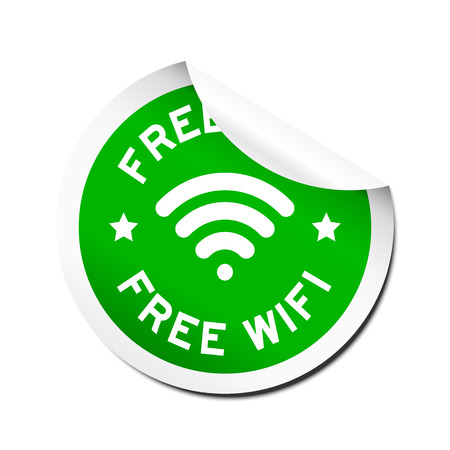 peel off: Green free wifi with signal icon sticker with peel off on white background Illustration