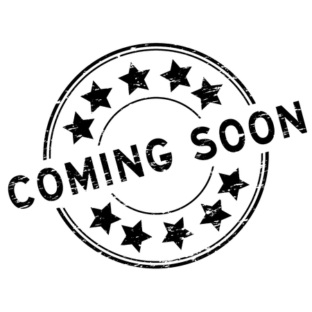 Grunge black coming soon with star icon round rubber stamp on white background