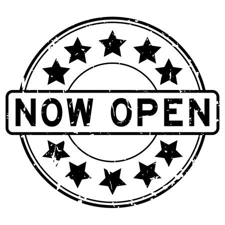 grand sale sticker: Grunge black now open with star icon round rubber stamp on white background Illustration