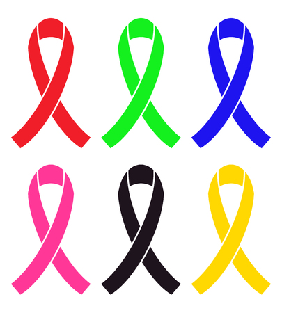 mourn: Set of colorful awareness ribbon (red, green, blue, pink, black, yellow)
