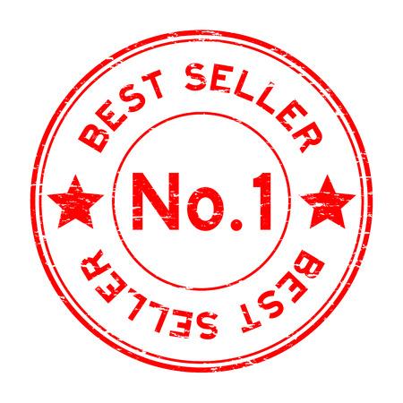 Grunge red no. 1 best seller round rubber stamp on white background