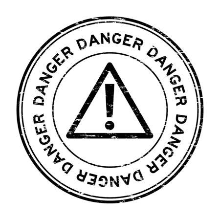 Grunge black danger round rubber seal stamp on white background