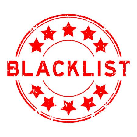 Grunge red blacklist with star icon round rubber stamp Illustration