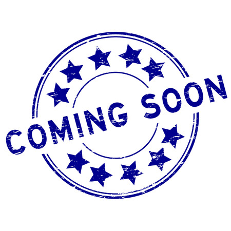 Grunge blue coming soon with star icon round rubber stamp Illustration