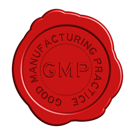 Red GMP (Good manufacturing practice) round wax seal Illustration