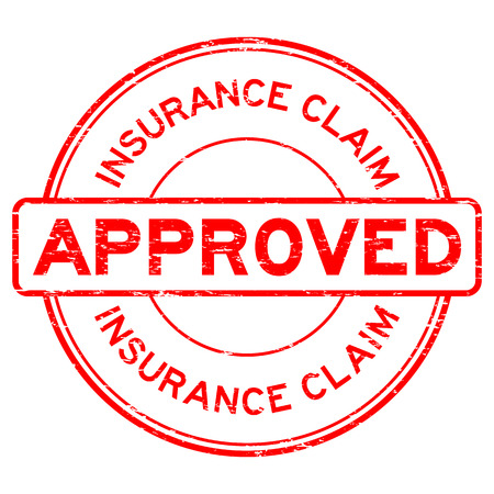 Grunge red insurance claim approved round rubber seal stamp