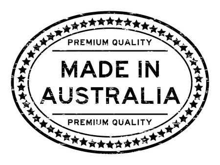 classified: Grunge black premium quality made in Australia with star icon oval rubber stamp